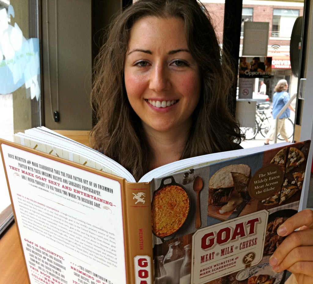 Melissa with a new book by Mark Scarbrough and Bruce Weinstein featuring goat meat