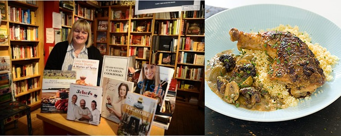 Alison Fryer, manager of The Cookbook Store (left) and Even Better Chicken Marbella (right)