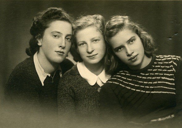 My mother (C) with her two best high-school friends in Riga in 1939 (L) Sonja Ginsburg and (R) Esfir (Esja) Treskunov smaller