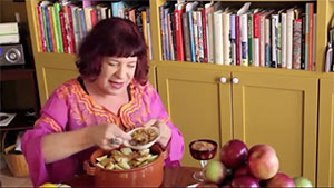 Marion Kane making applesauce