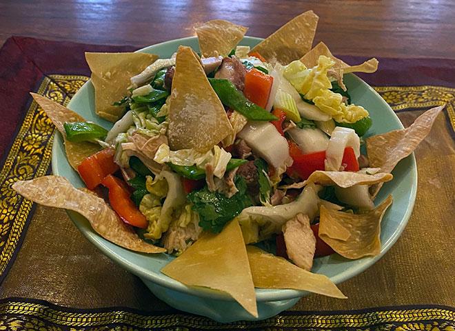 Asian Salad with Wonton Crisps